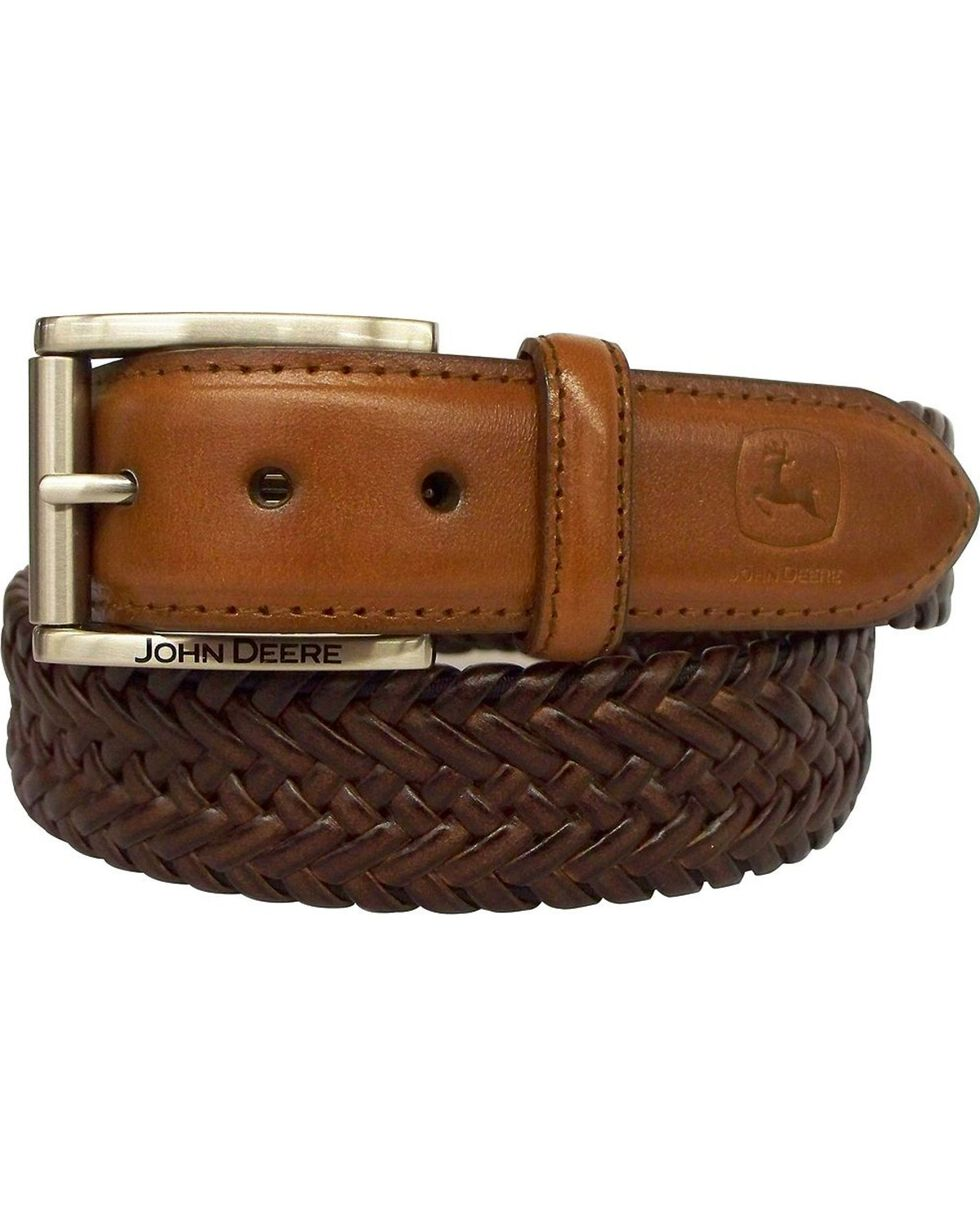 John Deere Braided Brown Leather Belt, Brown, hi-res