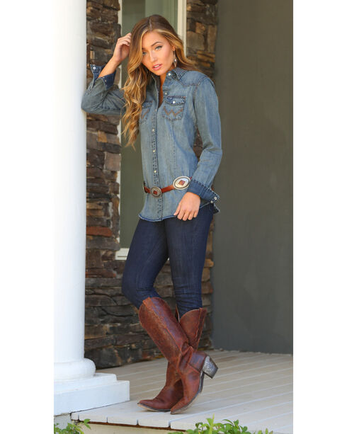Wrangler Women's Denim Western Snap Long Sleeve Shirt, , hi-res