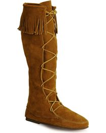 Minnetonka Lace-Up Suede Leather Knee High Boots, , hi-res