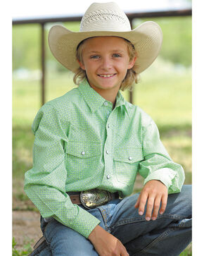 Cinch Boys' Lime Green Pearl Snap Western Shirt , Light Green, hi-res
