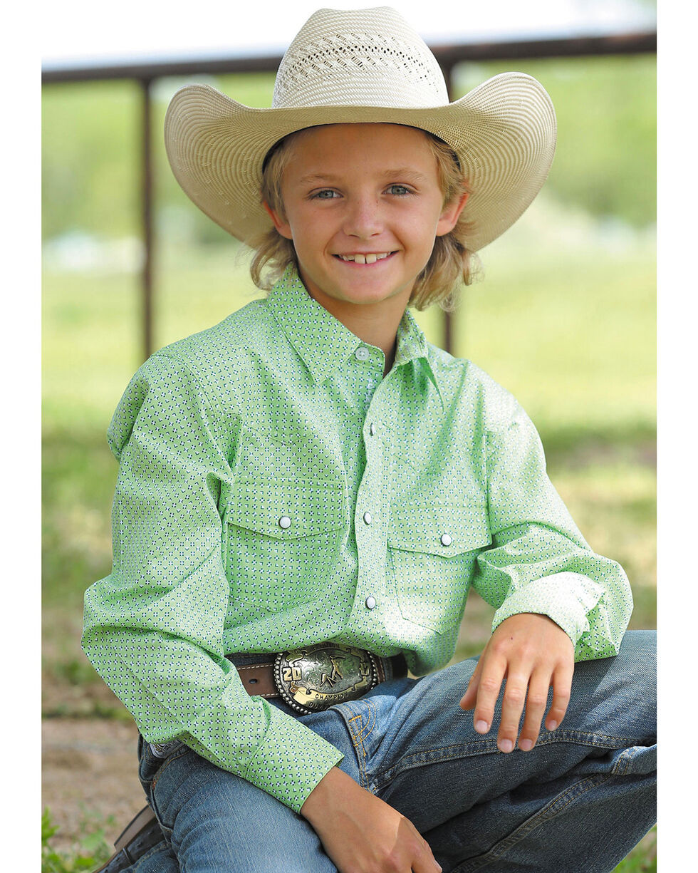 Cinch Boys' Lime Green Pearl Snap Western Shirt , Light Green, hi-res