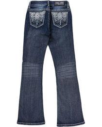Grace in LA Girls' Aztec Rhinestone Studded Boot Cut Jeans, , hi-res