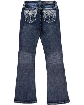 Grace in LA Girls' Aztec Rhinestone Studded Boot Cut Jeans, Blue, hi-res