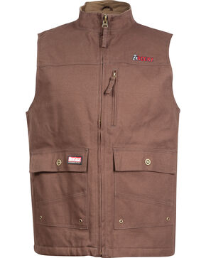 Rocky WorkSmart Men's Canvas Vest, Brown, hi-res