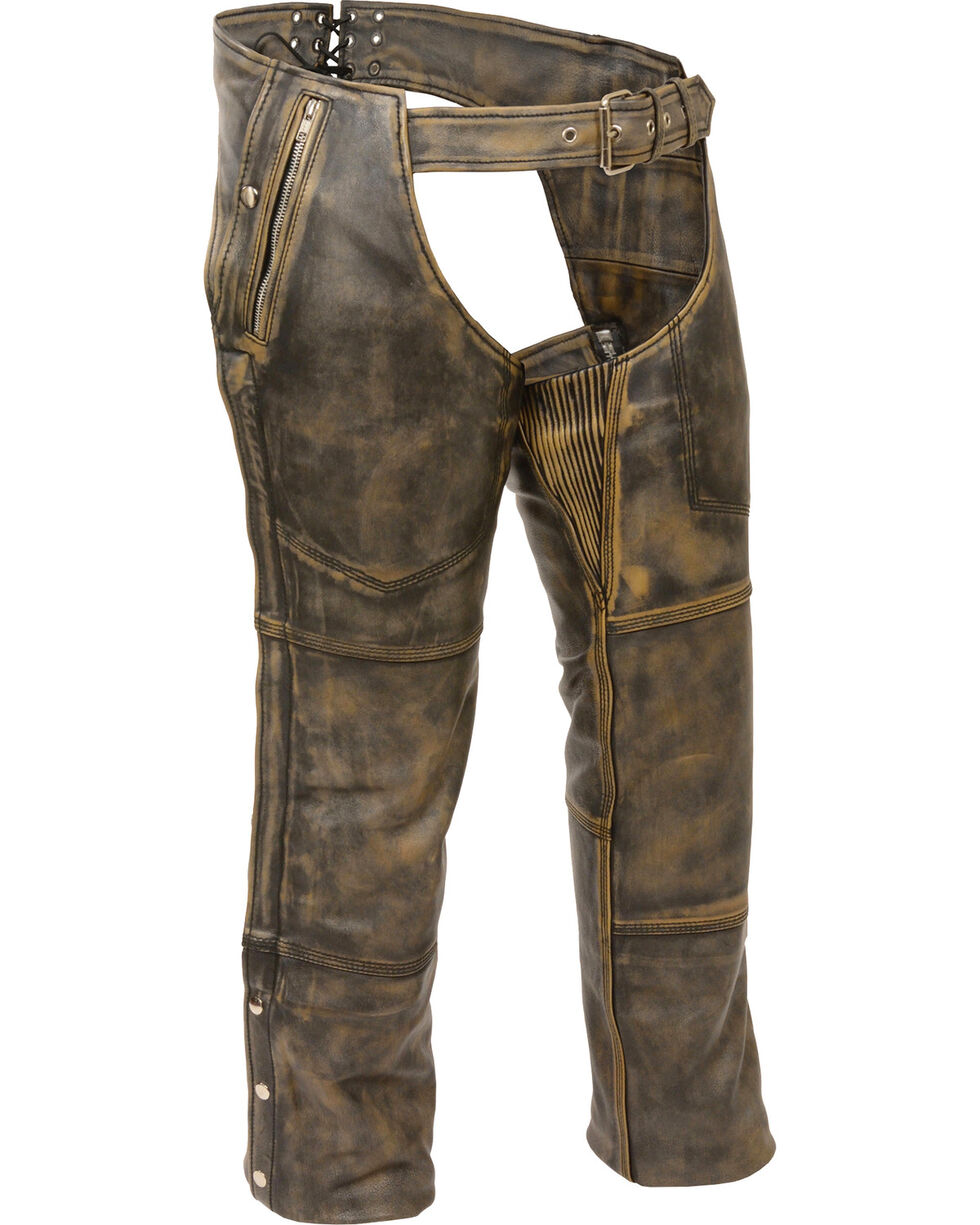 Milwaukee Leather Men's Tan Distressed Thermal Lined Chaps - Big 5X , Black/tan, hi-res