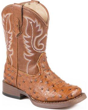 Roper Toddler Ostrich Print Cowboy Boots - Square Toe, Tan, hi-res