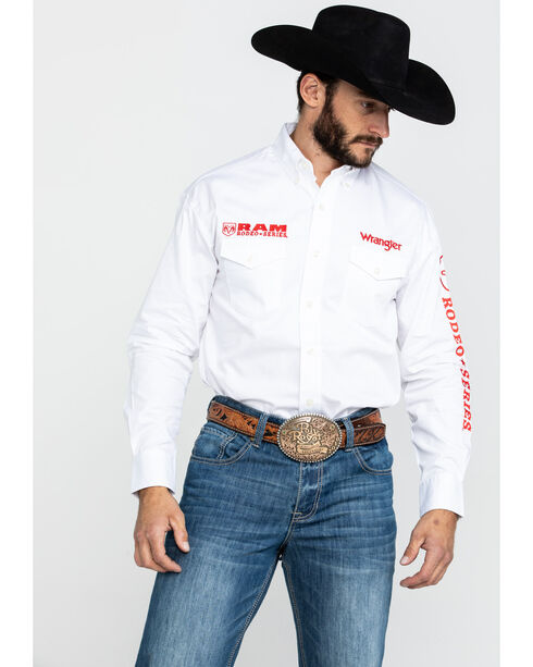 Wrangler Men's Long Sleeve RAM Rodeo Series Western Shirt, White, hi-res