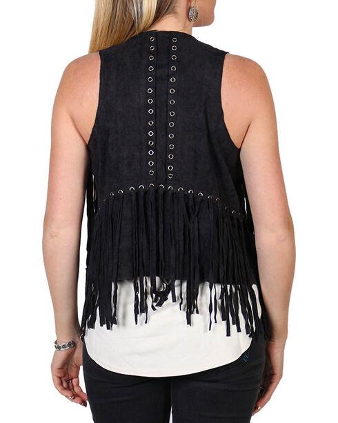 Vocal Women's Layered Fringe Vest, Black, hi-res