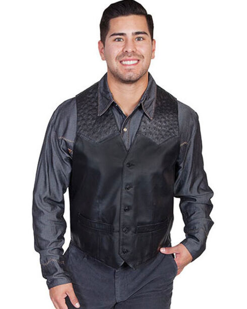 Scully Men's Ostrich Trim Leather Vest, Black, hi-res