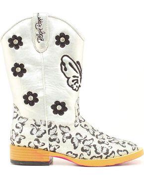 Blazin Roxx Girls' Pecos Glitter Side Zipper Cowgirl Boots - Square Toe, Silver, hi-res