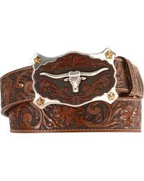 Justin Men's Floral Tooled Leather Belt, , hi-res