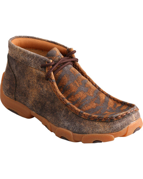 Twisted X Kids' Distressed Tiger Print Driving Mocs, Distressed, hi-res