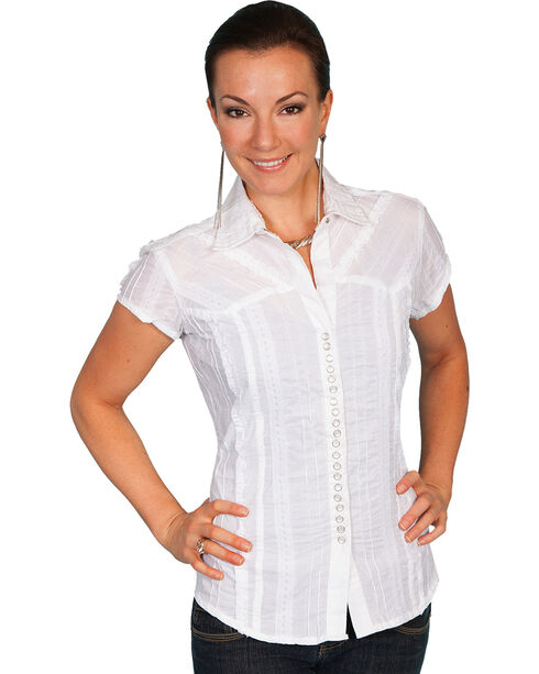 Scully Women's Cap Sleeve Lace Snap Shirt, White, hi-res