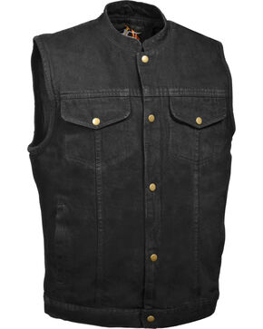 Milwaukee Leather Men's Snap Front Denim Club Vest w/ Gun Pocket, Black, hi-res
