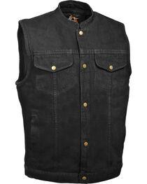 Milwaukee Leather Men's Snap Front Denim Club Vest w/ Gun Pocket - Big - 4X, Black, hi-res