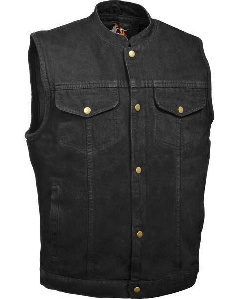 Milwaukee Leather Men's Snap Front Denim Club Vest w/ Gun Pocket - Big - 4X, , hi-res