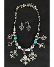 Blazin Roxx Fleur-De-Lis Charm Necklace & Earrings Set, , hi-res
