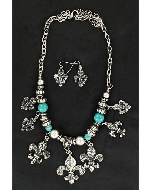 Blazin Roxx Fleur-De-Lis Charm Necklace & Earrings Set, Silver, hi-res
