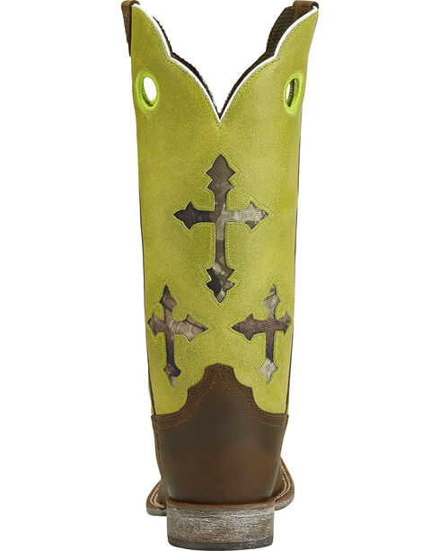 Ariat Youth Ranchero Cross Cowboy Boots - Square Toe, Brown, hi-res