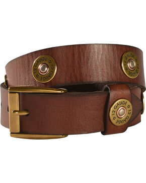 Boys' Shotgun Shell Concho Belt, Brown, hi-res
