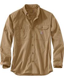 Carhartt Men's Khaki Force Ridgefield Solid Long-Sleeve Shirt, , hi-res