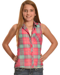 Derek Heart Girls' Purple Sleeveless Hi Lo Button Down Shirt, , hi-res
