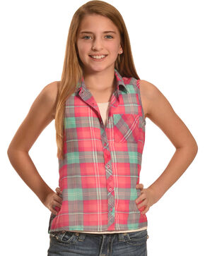 Derek Heart Girls' Purple Sleeveless Hi Lo Button Down Shirt, Purple, hi-res