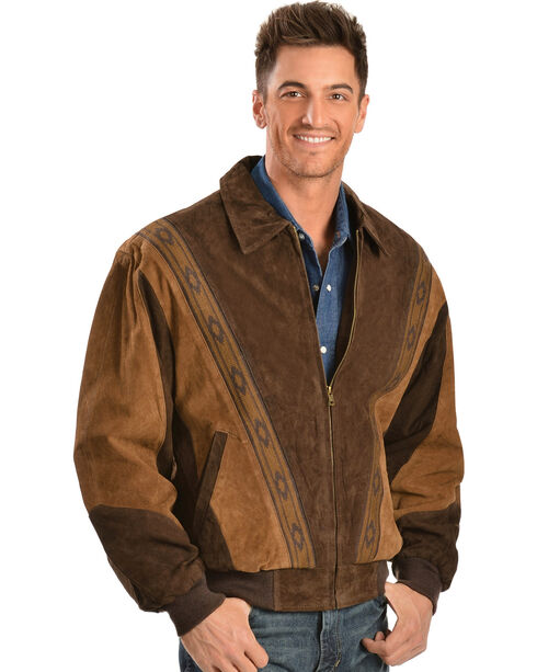 Scully Men's Suede Rodeo Jacket, Chocolate, hi-res