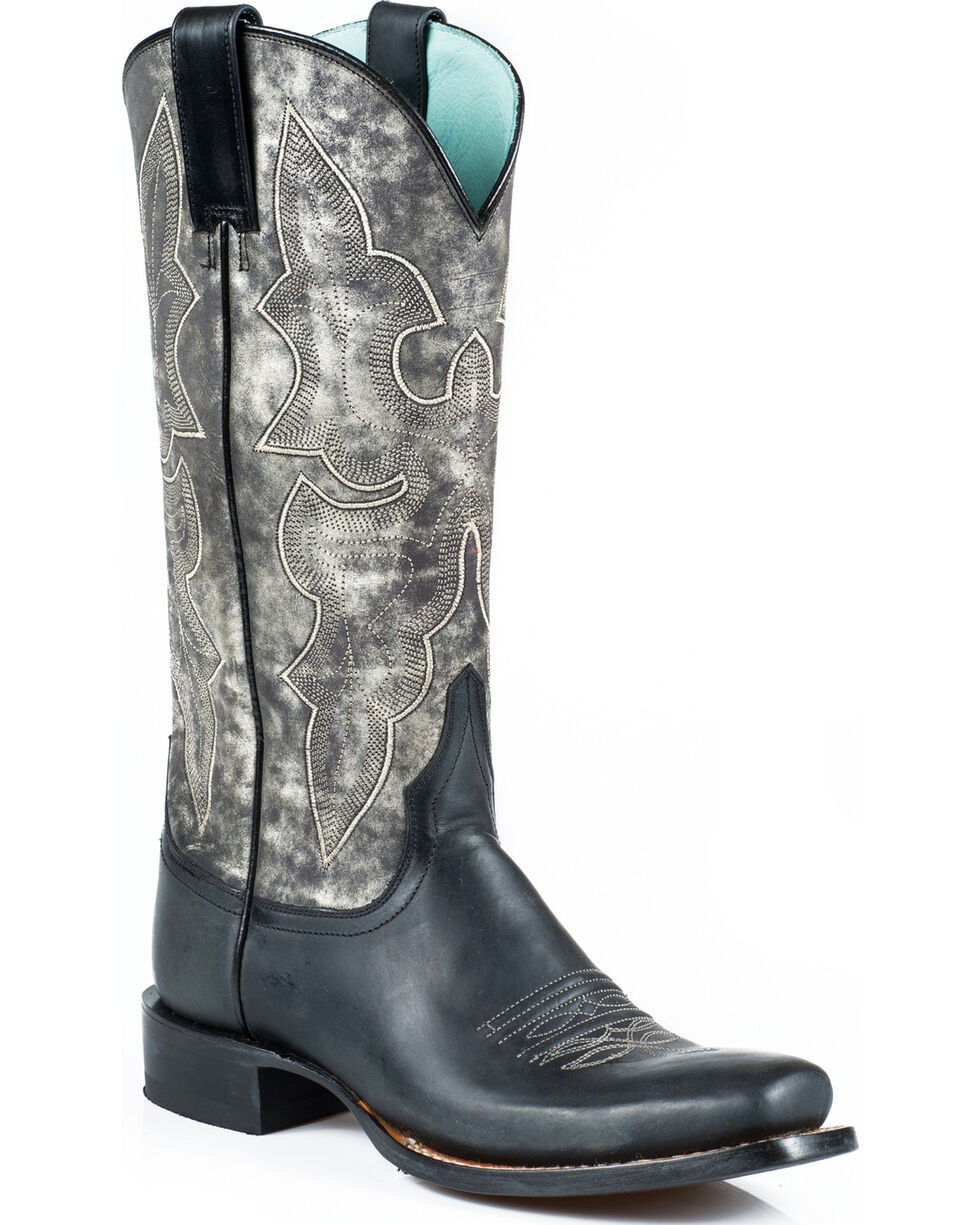 Stetson Women's Rachel Marbled Grey Western Boots - Square Toe, Black, hi-res