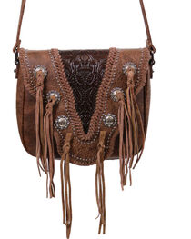 Trinity Ranch Women's Coffee Fringe Snap and Zip Messenger Bag , , hi-res