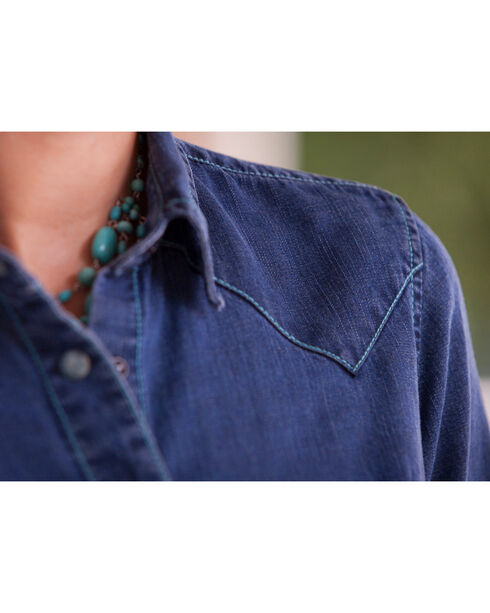 Ryan Michael Women's Indigo Saw Tooth Tencel Shirt, Indigo, hi-res