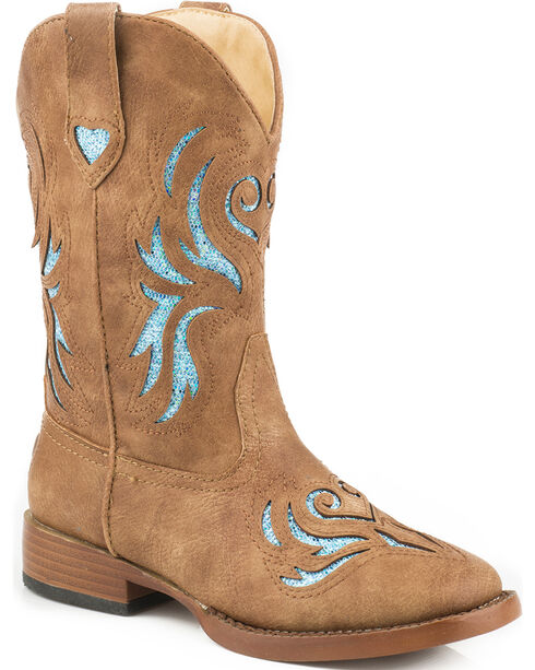 Roper Girls' Tan and Turquoise Glitter Breeze Cowgirl Boots - Square Toe , Tan, hi-res
