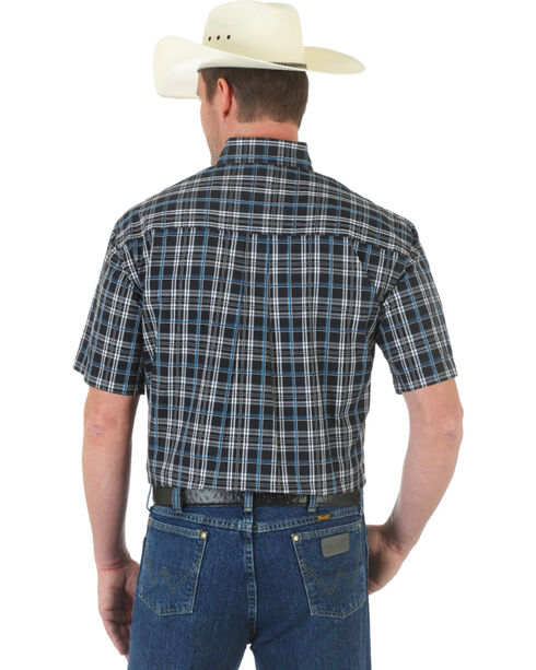 Wrangler George Strait Black Plaid Western Shirt , Blk/white, hi-res