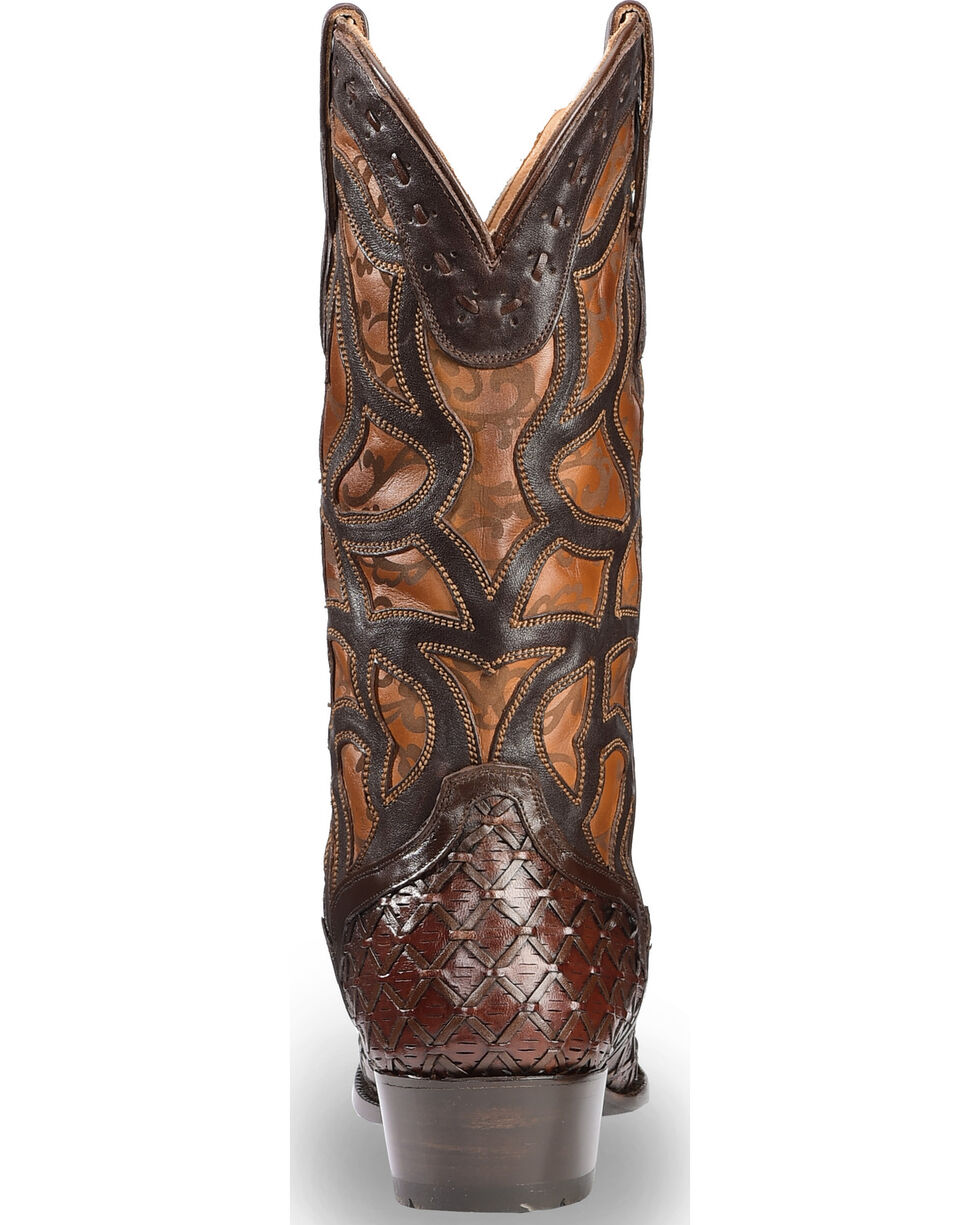 El Dorado Men's Handmade Basket Weave and Inlay Western Boots - Pointed Toe, Chocolate, hi-res