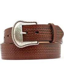 Double S Basketweave Embossed Leather Belt, , hi-res