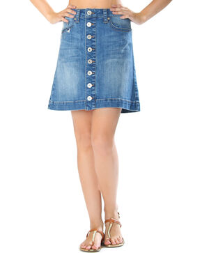 Grace in LA Women's Button Front Denim Skirt, Indigo, hi-res