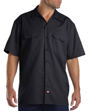 Dickies Men's Short Sleeve Work Shirt - Big, Black, hi-res