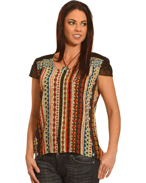 New Direction Sport Women's Lace Sleeve Print Shirt , Multi, hi-res