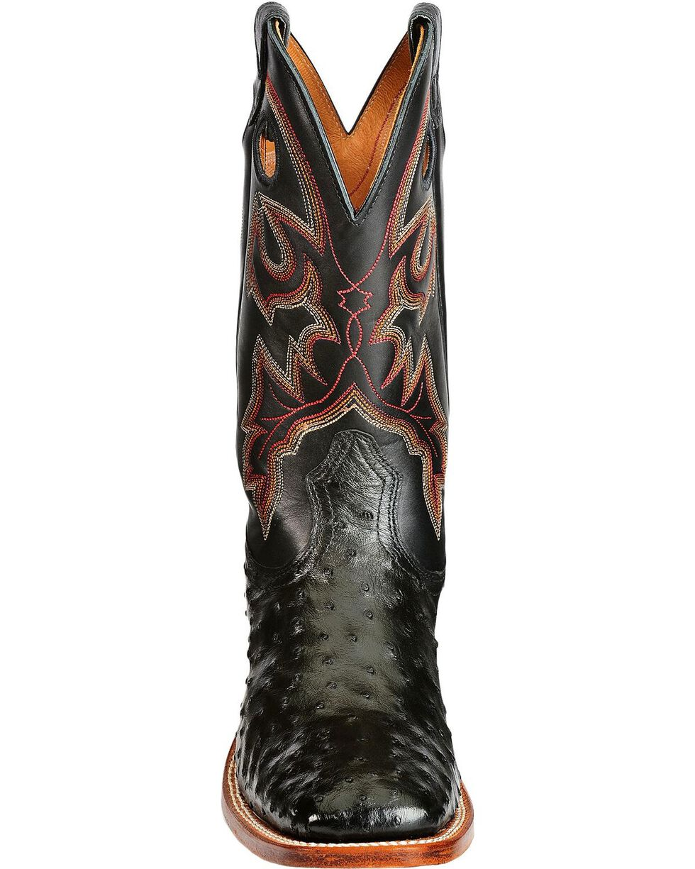 "Boulet Men's Exotic 12"" Ostrich Boots, Black, hi-res"