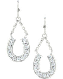 Montana Silversmiths Women's Hanging Horseshoe Basket Earrings , , hi-res