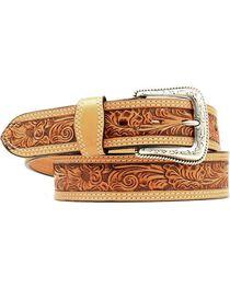 Nocona Floral Embossed Leather Belt, , hi-res