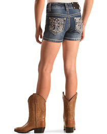 Rodeo Girl Embellished Cross Denim Shorts , , hi-res