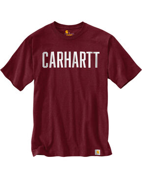 Carhartt Men's Workwear Block Graphic Short Sleeve Tee , Burgundy, hi-res