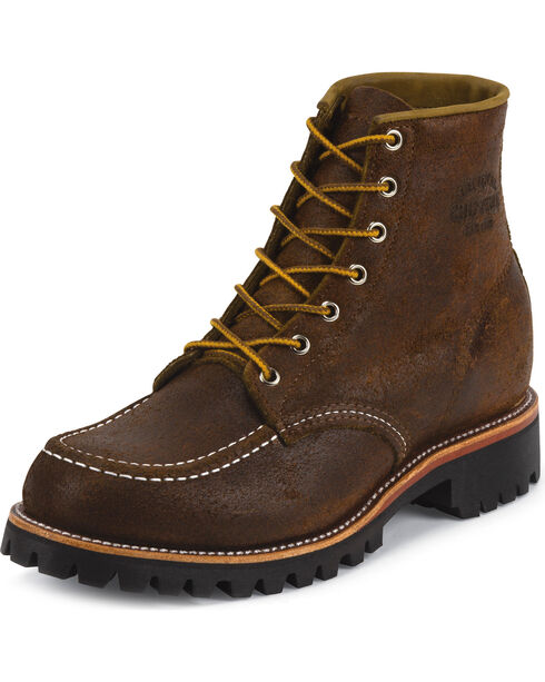 "Chippewa Men's 6"" Lace-Up  Suede Field Boots, Dark Brown, hi-res"