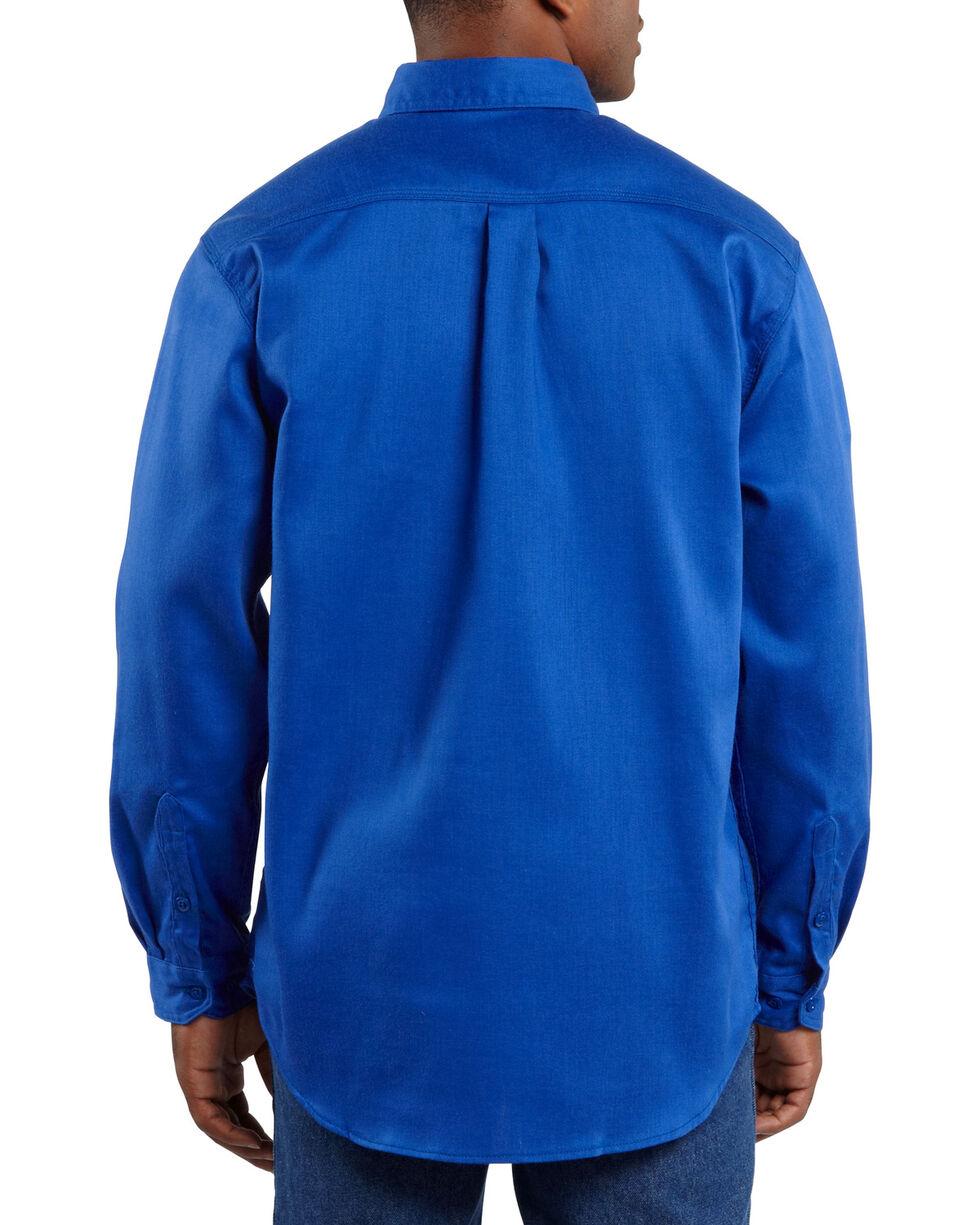 Carhartt Men's Long Sleeve Flame Resistant Dry Twill Work Shirt, Royal, hi-res
