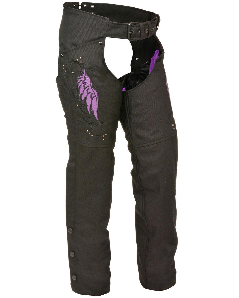 Milwaukee Leather Women's Textile Chap with Wing & Rivet Detailing, Black/purple, hi-res