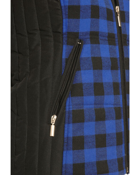 Jane Ashley Women's Blue and Black Plaid Flannel Vest , Blue, hi-res