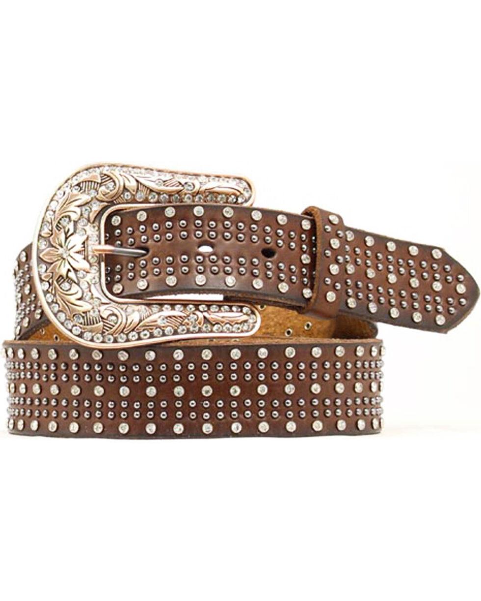 Nocona Studded Leather Belt, Brown, hi-res