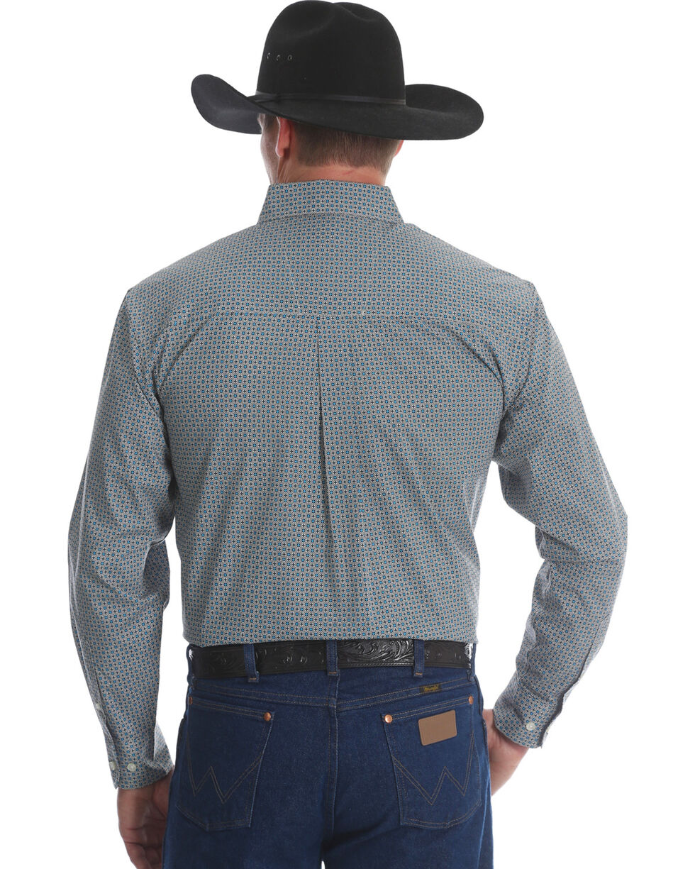 Wrangler Classics Men's Brown/Blue Print Long Sleeve Button Down Shirt, Green, hi-res