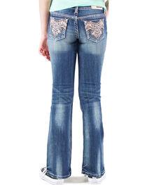 Grace in LA Girls' Medium Wash Embellished Pocket Bootcut Jeans , , hi-res